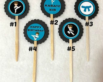 Set Of 12 Karate Martial Arts Birthday Cupcake Toppers (Your Choice Of Any 12)