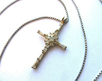 DESIGNER STERLING Simulated DIAMOND Cross, 925 Hallmrked Cross & Long 925 Sterling Silver Neck Chain, Crystal Cross Necklace, Estate Jewelry