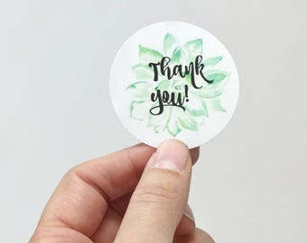 """24  2"""" Succulent Thank You stickers, customer thank you sticker, round thank you, packaging sticker, thank you labels, packaging supplies"""