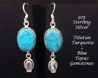 Silver Earrings 063: Sterling Silver Earrings with Tibetan Turquoise and Blue Topaz Gems | Silver Drop Earrings, Silver Dangle Earrings