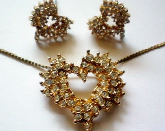 Crystal Rhinestone Heart Pendant & Pierced Earrings - 3372