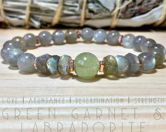 Labradorite and Green Garnet bracelet.