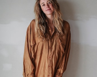 oversized silk button up