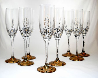 Toasting Flutes Hand Painted Glassware, Crystal Embellished Wedding Glassware ~ Pair