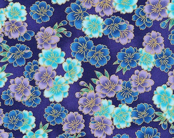 Flowers Blue Metallic Imperial Collection Robert Kaufman Fabric