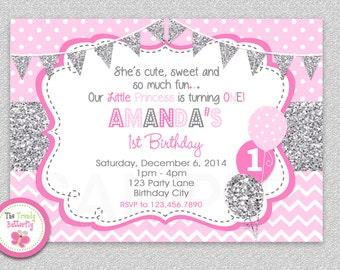 Girls 1st Birthday Invitation , Silver Pink Girls 1st Birthday Invitation , Pink and Silver Glitter, Chevron Birthday Invitation