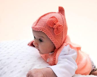 Pixie Hat, Soft Knit Baby Hat, Baby Knit hat, sizes from Newborn