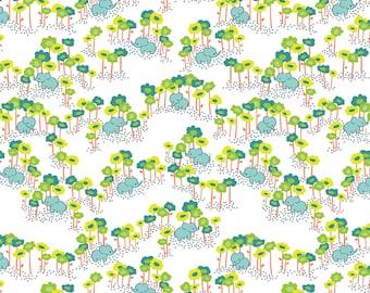 Baby Elephants Fabric - Pygmy Elephants Blue by Katy Tanis - The Sundaland Jungle Collection - Blend Fabrics - One Yard Fabric