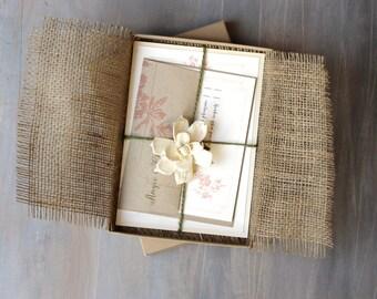 Rustic Burlap Boxed Wedding Invitations with Wheat Stalk