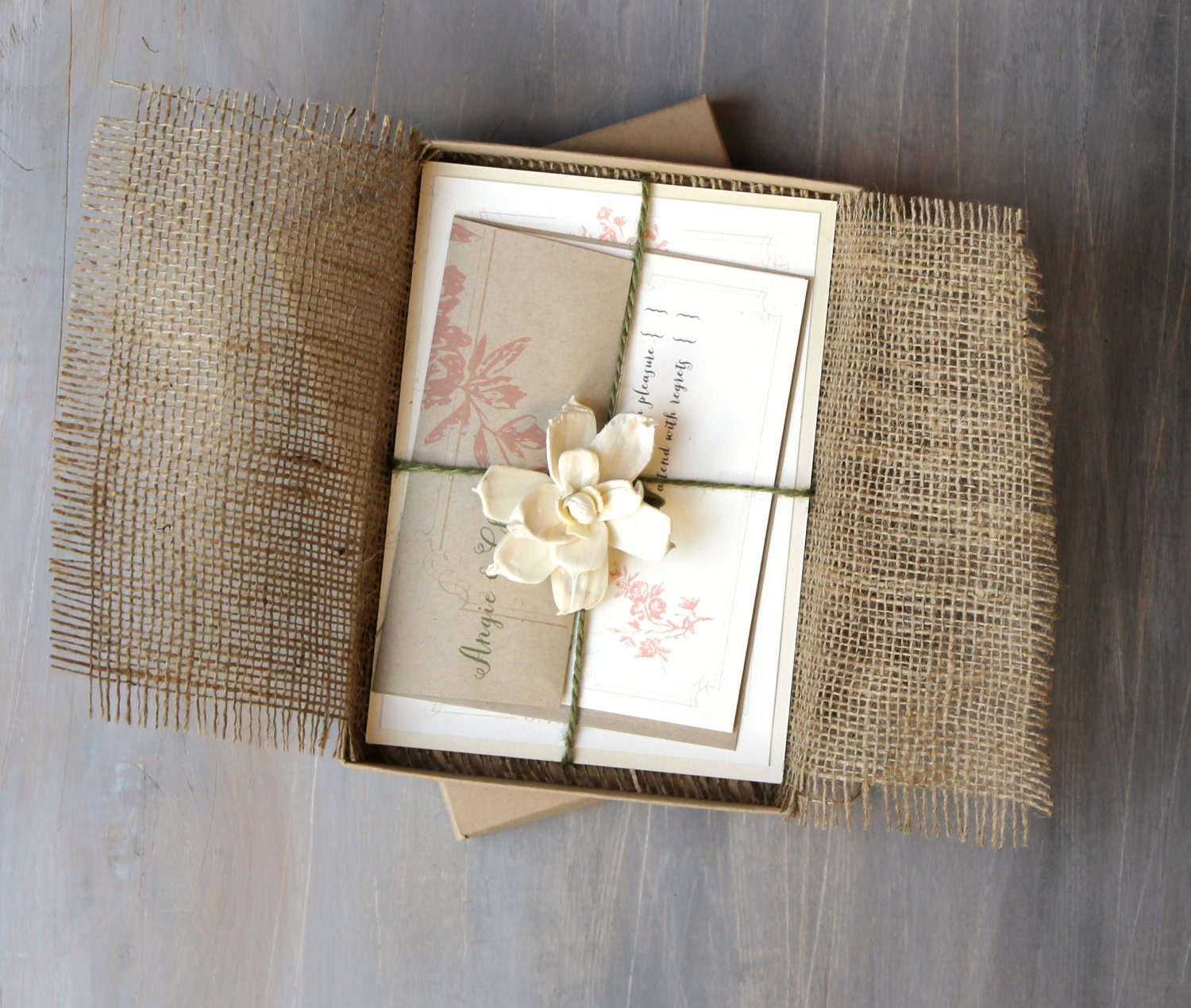Burlap Wedding Invitations Enchanted Forest Wedding Burlap