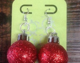 Red Glitter Ornament Christmas Earrings