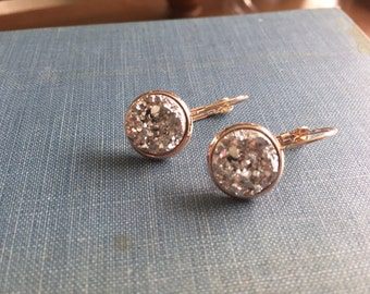 gorgeous reflective silver druzy drusy dangle earrings, gift for her