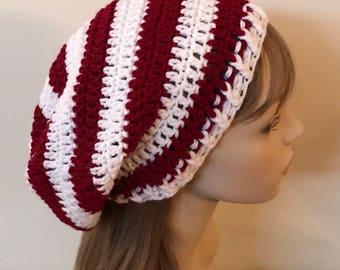 Burgundy and White Slouchy Beanie Dread Tam Hat