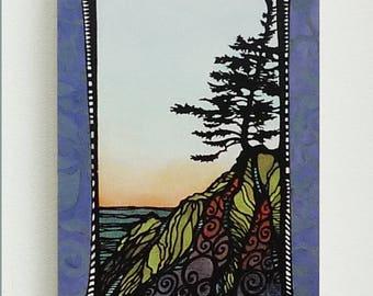 """The Cove, 6""""x9"""" giclee print on wood"""