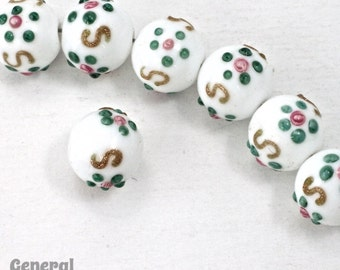 10mm White Floral Lampwork Bead #HCA045