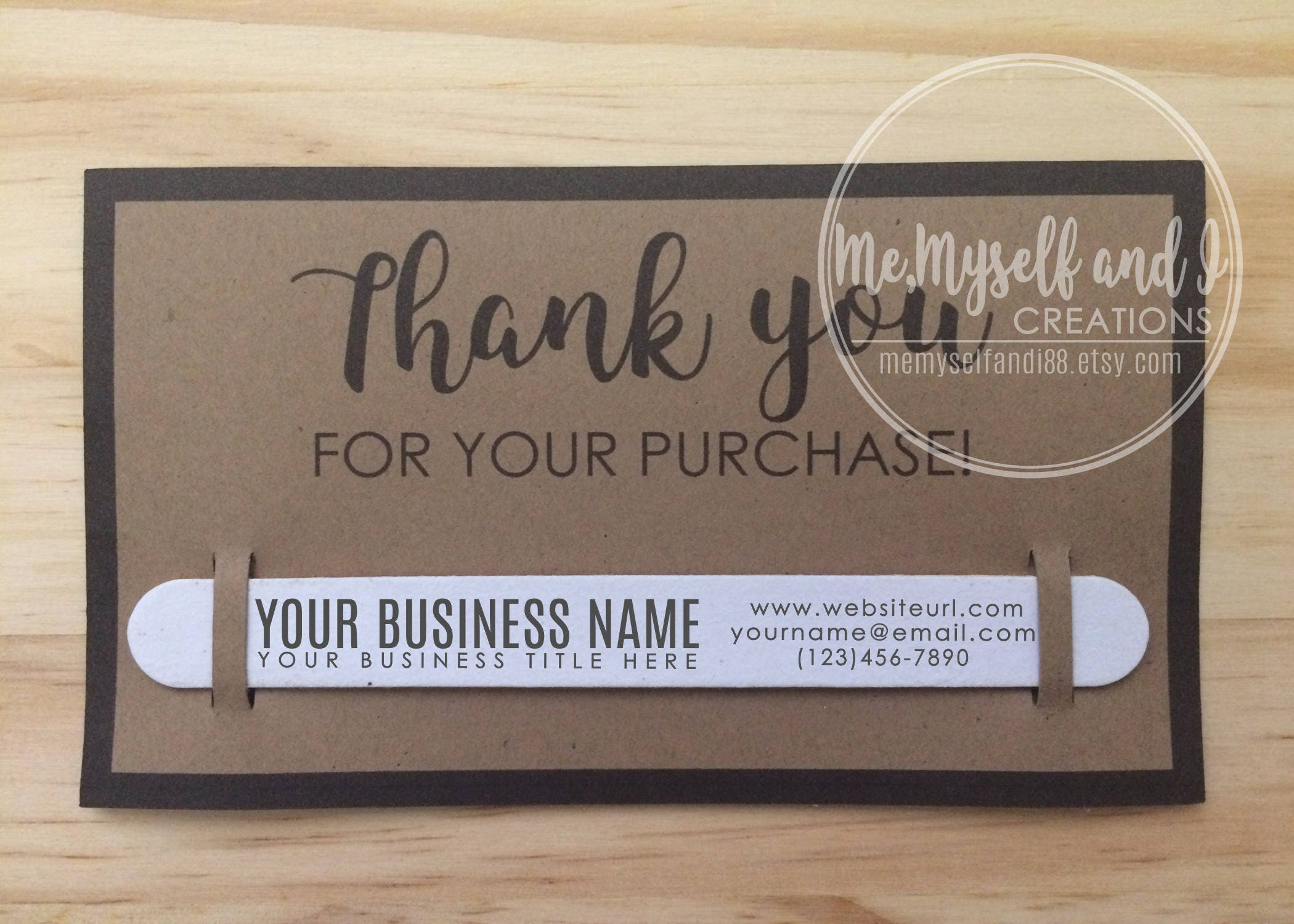 Kraft Business Thank You Cards with Custom Nail File /