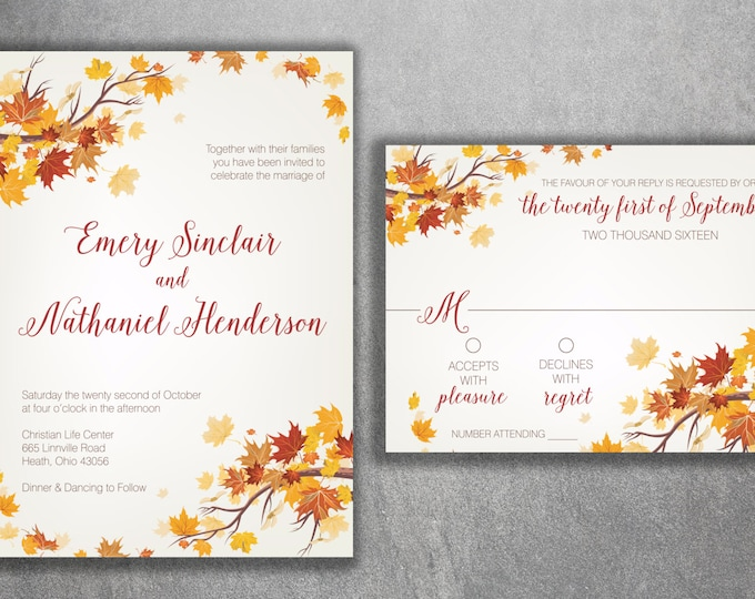 Autumn Wedding Invitation, Fall Wedding Invitation, September Wedding Invitations, Leaves, October, Maroon and Orange Wedding Invitation