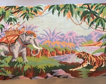french canvas upholstery Tiger hunt