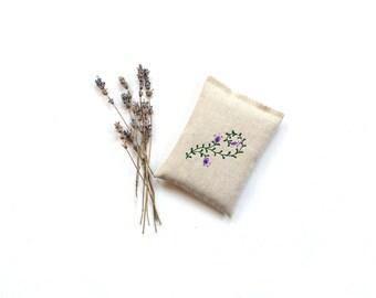 Embroidered sachet, organic lavender sachet bag, linen sachet lavender pillow drawer freshener, aromatherapy
