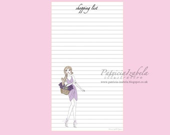 Filofax Shopping List (Lavender) sheet insert printable filofax sheets instant download for your Filofax or diary size A5