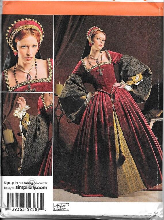 Einfachheit 2589 Tudor Kleid Kleid und Französisch Hood Kostüm