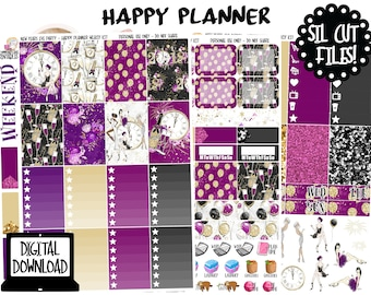 New Years Party Printable Planner Stickers for Happy Planner with Silhouette Cut Files, New Years Planner Stickers, Happy Planner Stickers