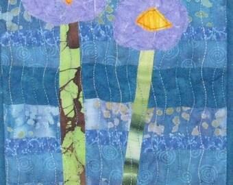 Small Art Quilt, My Garden Art Quilts, Fiber Art, Textile Art, Wall Art, Floral Art