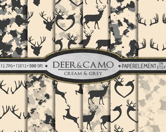 Cream Deer Digital Paper: Deer Paper, Beige Deer Background, Deer Prints, Camouflage Patterns, Camo Backgrounds, Camo Backdrop Download