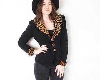 Leopard Print Blazer | Leopard Trim