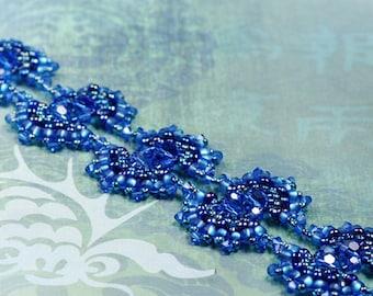 Beadwoven Bracelet - Blue Bracelet - Merrow Bracelet - Beadwork Bracelet - Blue Swarovski Bracelet