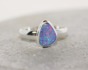 Australian Boulder Opal ring sterling silber size 8
