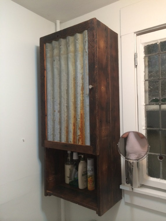 Barn Wood Medicine Cabinet With Tin Door