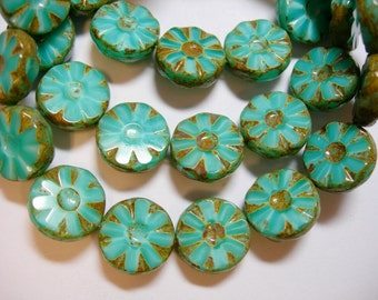 15 13mm Turquoise Silk Czech Glass Picasso Table Cut Coin Beads