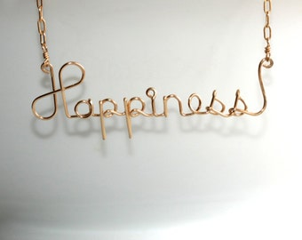 Happy Necklace * Happy Jewelry * Happiness * Happy * Wire Words * Wire Word Art * Joy Necklace * Wire Name Necklace * Happiness Necklace