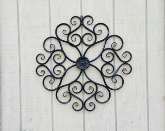 Metal Wall Decor / Wrought Iron Wall Art / Metal Wall Art / Large Metal Wall Art / Large Wrought Iron Scroll Decor / Flower Wall Decor