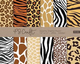 Animal Print Digital Paper, Seamless Safari Background, Zebra, Leopard, Tiger, Giraffe, Crocodile Seamless Pattern for Scrapbooking