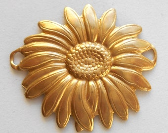 1 Raw Brass Sunflower Connector, brass stamping, 35 x 30mm, made in the USA C1401
