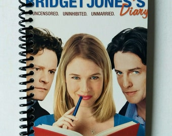 Bridget Jones's Diary Spiral Notebook Hand Made from Upcycled VHS Tape Movie Cover