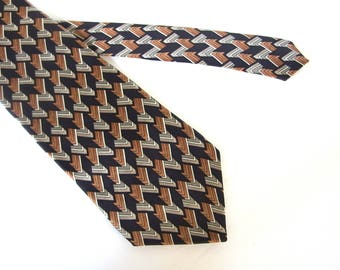 Wide Silk Tie - Stafford Exclusive Brown, Black and Gray Geometric Patterned Tie