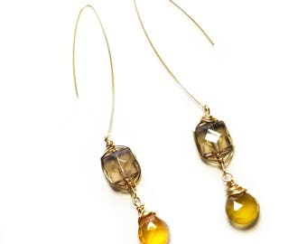 Delicious Smokey quartz and AAA yellow Chalcedony  dangle earrings, everyday earrings, 14K Gold filled wire wrapped earrings,  gift for her