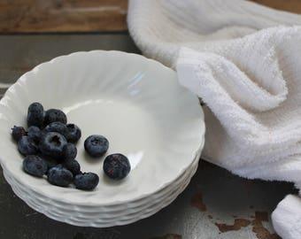 White Ironstone Berry Bowls /  5 Johnson Brothers Ironstone Berry Bowls / Scalloped 1980's Ironstone Bowls / Farmhouse Ironstone Berry Bowls