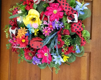 Deco Mesh Floral Wreath SPRING Summer Front Door Wreath Year Round Decor Lady Bug Ribbon Bow