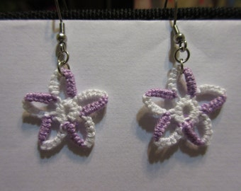 Tatted Two-Colors Stars Earrings