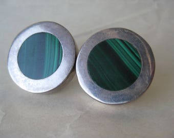 Malachite Green Round Sterling Earrings Pierced Post Vintage 925 Southwest Stone Mexico