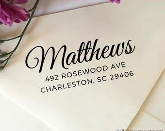 Return Address Stamp, Self Ink Stamp, Wood Rubber Stamp, Personalized Stamp, Family Name Stamp, Elegant Wedding Address Stamp, Housewarming