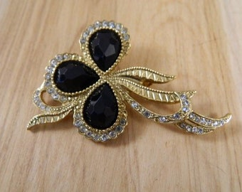 Vintage Black and Clear Rhinestone Brooch, Black Gold Rhinestone Pin, Black Rhinestone Ribbon Brooch, Black Brooch, Vintage Costume Brooch