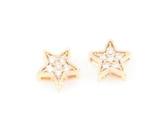 2 pcs 6 Round Cubic Zirconia in Gold Stars, Round Shape Cubic Zirconia / Star / 16k Gold / Cubic Zirconia / 8mm x 8mm / CG-013-P
