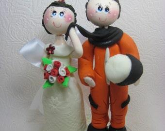 Funny wedding cake topper, Custom wedding cake topper, Astronaut cake topper, space cake topper