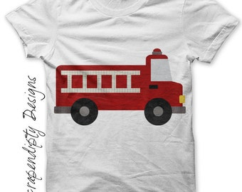 Iron on Fire Truck Shirt PDF - Red Fire Engine Iron on Transfer / Kids Baby Boys Clothing One Pieces / Toddler Boys Shirt / Clothes IT292