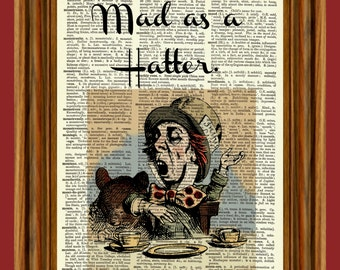 Mad Hatter (Alice in Wonderland) Upcycled Dictionary Art Print Poster